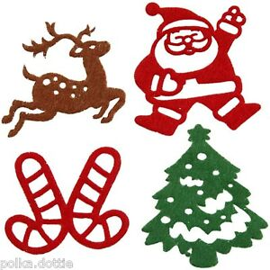 Christmas Shapes.Details About 16 Felt Christmas Shapes Self Adhesive Stickers Motifs Tree Santa Reindeer 5cm