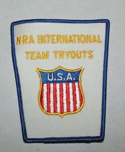 Vintage-1970-039-s-NRA-National-Rifle-Association-International-Team-Tryouts-patch