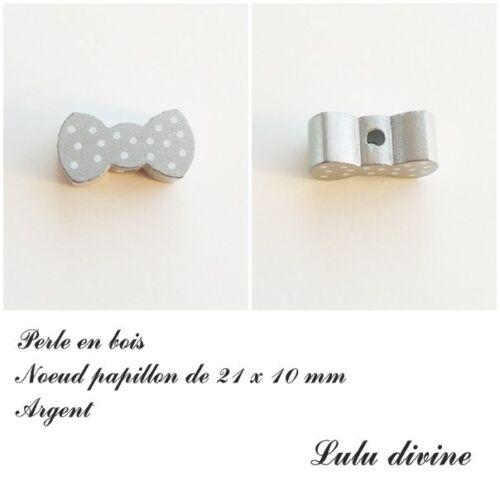Perle plate Noeud papillon Argent Perle en bois de 21 x 10 mm