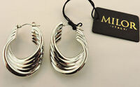 Milor 14k White Gold Hoop Earrings With Tags