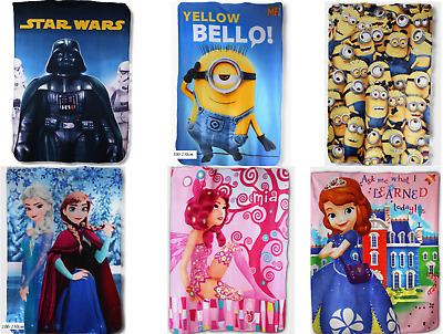 Kids Fleece Blankets Official Licensed Disney Characters Starwars-Frozen-Minion