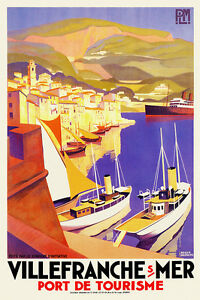 Vintage Art Deco Travel Poster Villefranche sur Mer 1920s French Riviera Ships