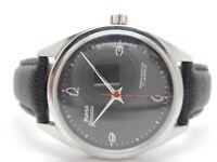 hmt janata hand winding mens steel para shock black dial wrist watch run order.