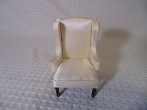 Dollhouse Miniature Formal Upholstered Walnut Chair on Casters
