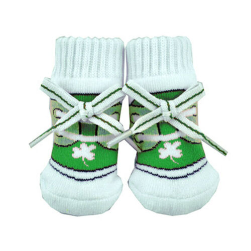 Green Colour Newborn Bootie Socks With Laces