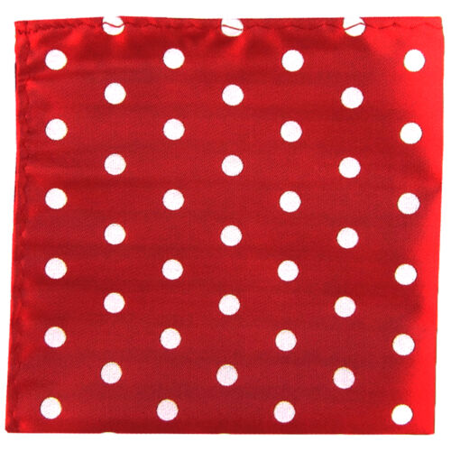 New men/'s polyester red white polka dot hankie pocket square formal wedding