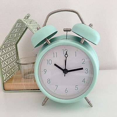 RETRO DOUBLE BELL ALARM CLOCK METAL  MINT GREEN BEDSIDE WAKE UP ALARM HAMMER BEL