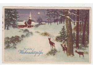 Tarjeta-Postal-Navidad-Antigua-Nieve-Bosque-Teile-Chiesa-por-Pais-Luna-Llena