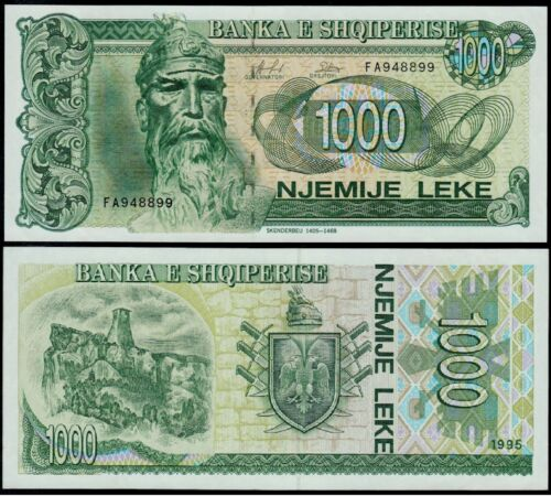 UNC Albania Banknote Paper Money P61b 1000 leke 1995 Without eagle.