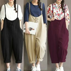 Plus Size Womens Strappy Casual Loose Wide Leg Pants Jumpsuits Casual Playsuits