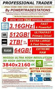DELL Trading Computer 8Monitor 4K 512GBSSD 2TBHDD 64GBRAM 8CoreXeon3.16GHz W10P