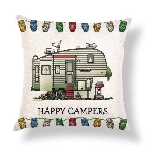 Happy Campers Cotton Linen Pillow Sofa Case Waist Throw Cushion Cover Home Decor