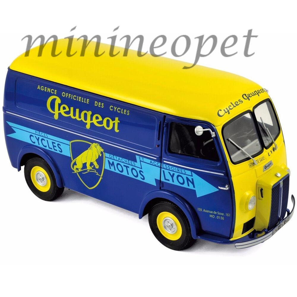 NOREV 184710 1956 PEUGEOT D4A CYCLES PEUGEOT 1  18 DIESAT modellllerL bil blå gul