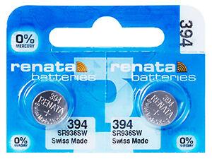 2-x-Renata-394-Pila-Batteria-Orologio-Mercury-Free-Silver-Oxide-SR936SW-1-55V