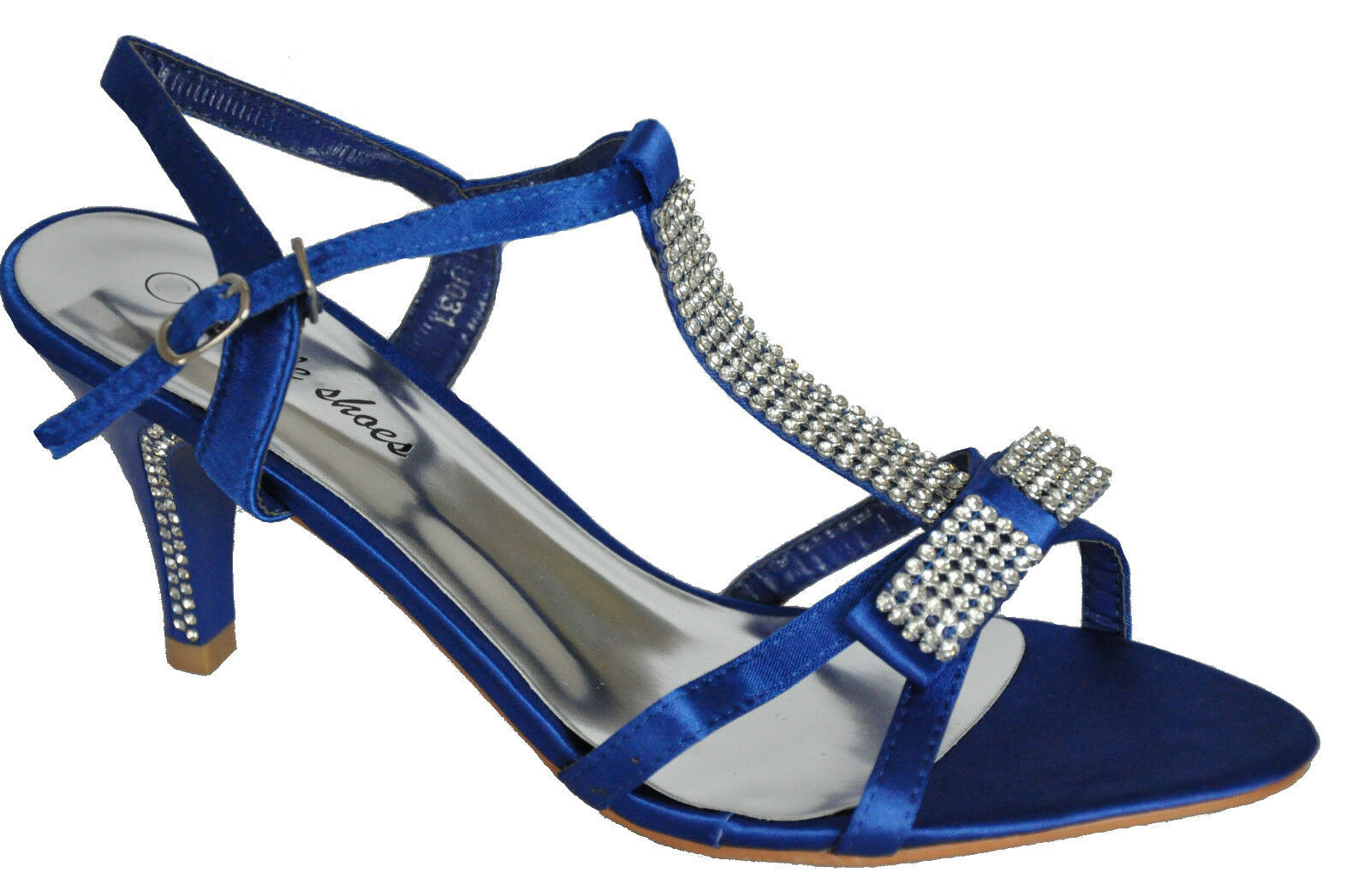 Satin Blue Diamante Heels Wedding Sandals Shoes UK 3 4 5 6 7 7.5