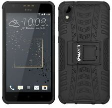 AMZER Black Dual Layer Rugged Hybrid Armor Warrior Case Stand For HTC Desire 825