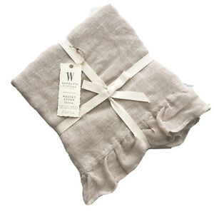 Wamsutta 100/% Washed Linen Throw Belgian Flax Washable Nude Pale Color Free Ship