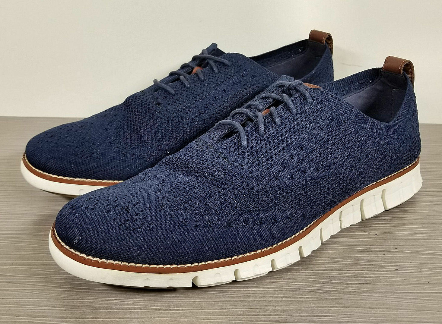 COLE HAAN ZeroGrand Stitch Lite Knit Brogue shoes, bluee, Mens Size 11.5 M