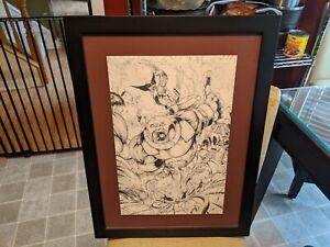Jamie-Biggs-Original-Comic-Sketch-art-Spiderman-Hulk-Wolverine-DP-vs-Juggernuat
