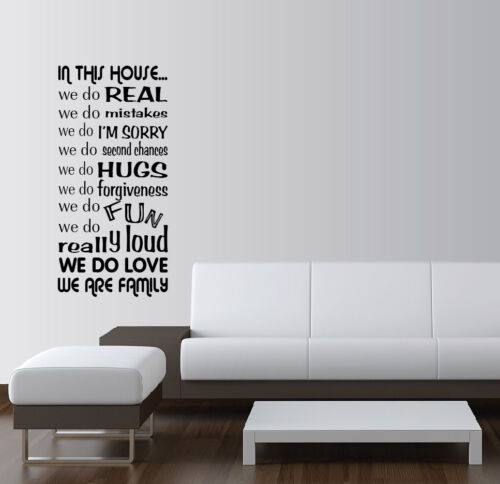 IN THIS HOUSE WE DO Vinyl Wall Word Art Quotes Sayings Lettering Decals Stickers