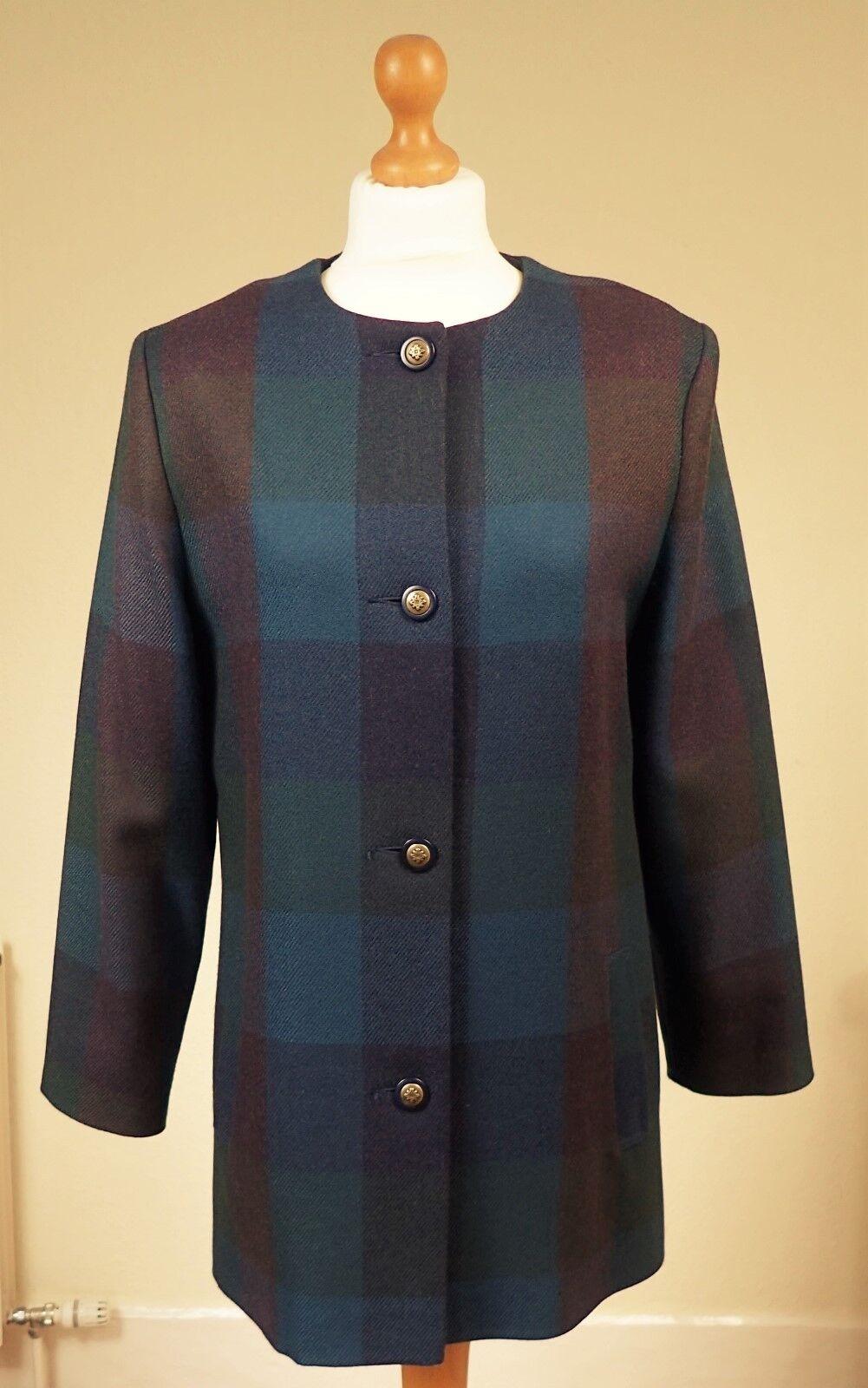 Avoca SZ UK & IRL 14 UE 40 pure laine vierge sans col buscravater veste voiturereaux bleu