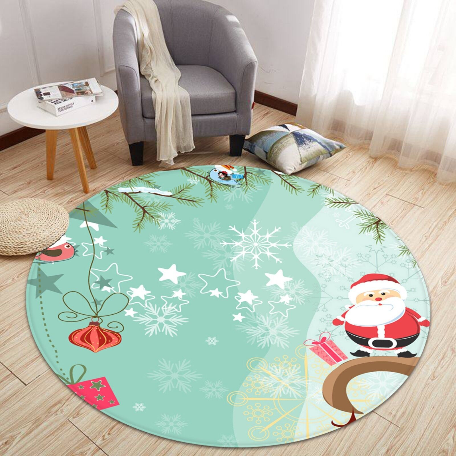3D Christmas Xmas Poster Cute 231 Non Slip Rug Mat Room Mat Round Elegant Carpet
