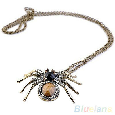 Classic Retro Crystal Resin Spider Bead Necklace Dangle Charm Pendant Long Chain