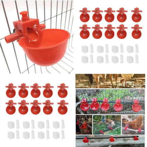 20pcs//set Water Bowls Plastic Automatic Feeder Drinking Cup For Chicken Quails