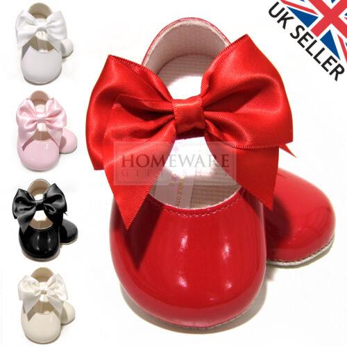 Bébé filles landau chaussures mary jane nœud vernies espagnol style semelle souple Baypod