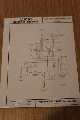 ariel twin cylinder motor cycles 1956-58 original lucas wiring ... ariel wiring diagram  ebay