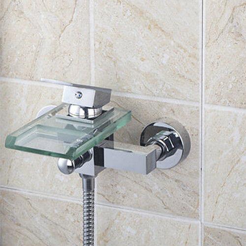 Chrome verre Waterfall Bec bain bassin évier Robinet Mélangeur robinet mural