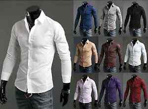 Nuevos-De-Lujo-Camisas-Para-Hombre-Casual-Formal-Slim-Fit-Camisa-Top-S-M-L-Xl-Xxl-Ps01