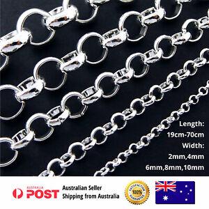 925-Sterling-Silver-Necklace-Chain-Bracelet-Anklet-S-F-Mens-Ladies-Solid-Belcher
