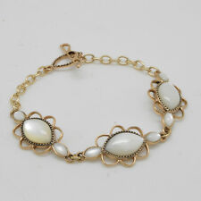 Barse Jewelry Bronze and Mother of Pearl Link and Toggle Bracelet