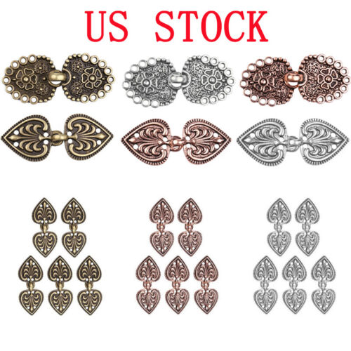 5 Pairs Copper Cape Cloak Clasp Fasteners Sew On Hooks Eyes Cardigan Clip Button