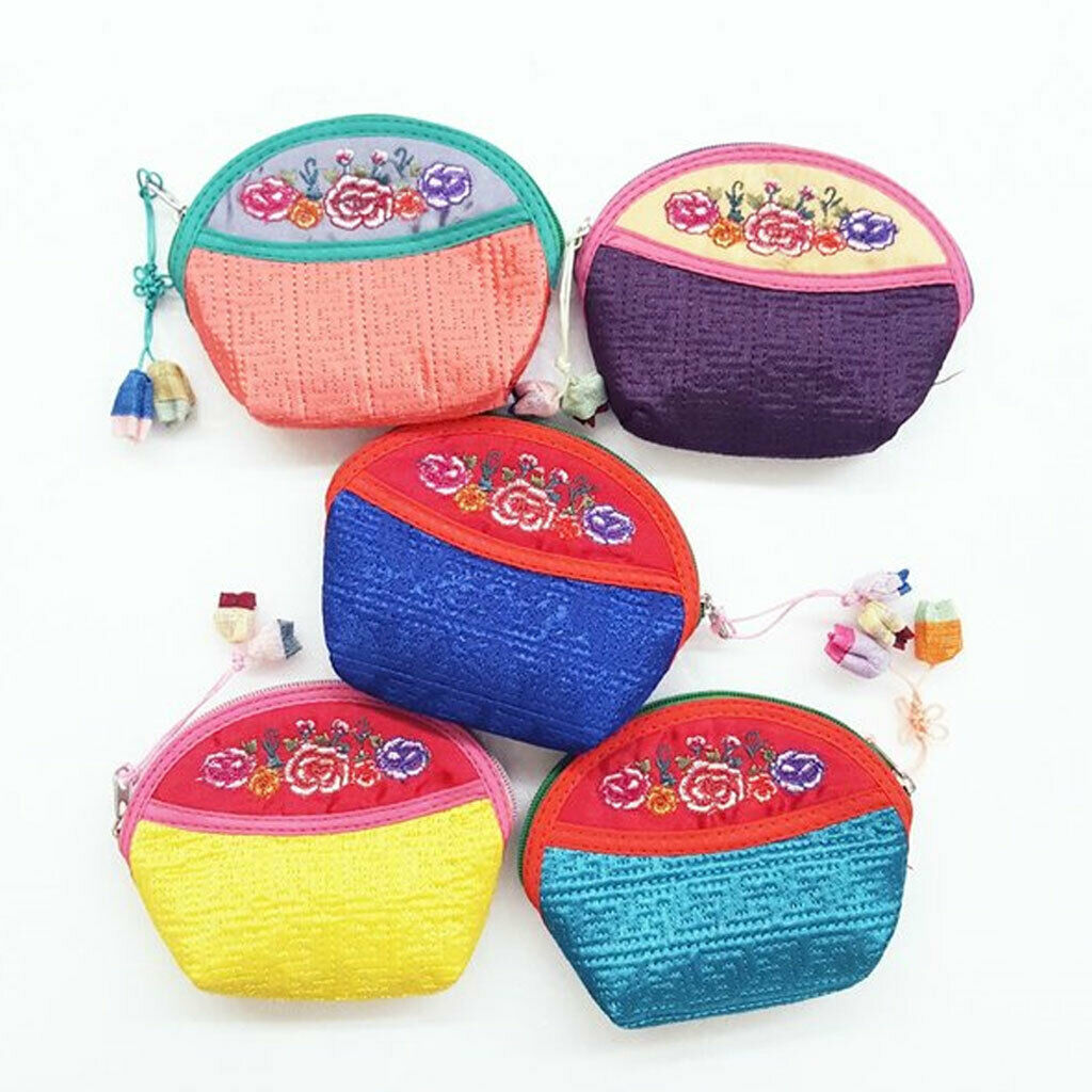 [INTERNATIONAL GIFT] Traditional rose flower embroidery coin purse 5pcs