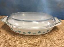Rare Vintage  PYREX Aqua Blue White SNOWFLAKE  OPEN BAKER Oval W/LID Dish