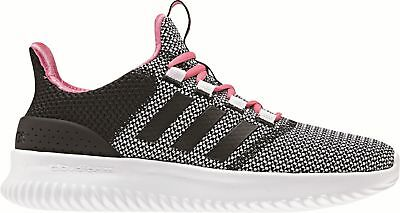 Adidas Core Bambini Tempo Libero Scarpa Sneaker Cloudfoam Ultimate Nero Bianco Rosa-