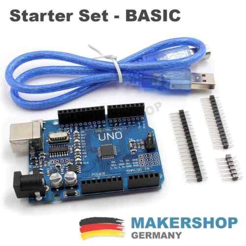 Board Atmel ATmeg... UNO R3 Starter Set Kit Header Arduino komp USB Kabel