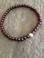 Designer Sterling Silver Garnet Bracelet Small Bead Stretch Birthstone Jewelry
