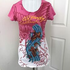 Ed Hardy by Christian Audigier Pink T-Shirt Women's Small Sparkle Koi Fish