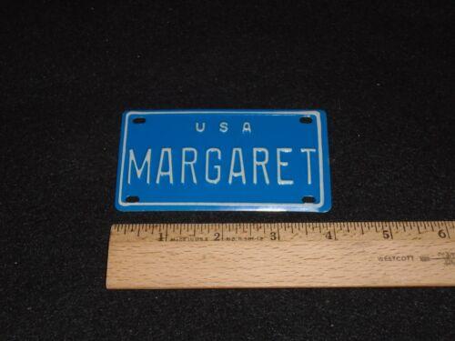 1960/'s USA MINI BIKE LICENSE BLUE VANITY PLATE METAL EMBOSSED NOS NAME MARGARET