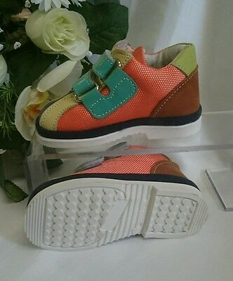 BABY SNEAKERS Kinder Schuhe MADE IN ITALY Gr. 19 Bunt Weiß