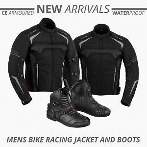 Waterproof-Cordura-Motorbike-Jacket-Armoured-Coat-Motorcycle-Leather-Boots-Shoes