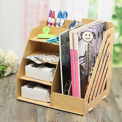Office File Holder Wood Desk Organizer Rack Folder Book Document Storage Bracket