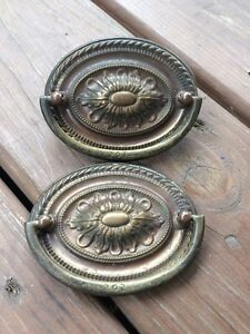 2 antique vintage brass drawer drop bail pull handle oval rope
