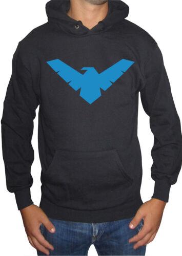 fm10 felpa cappuccio uomo NIGHTWING super eroe batman superman CARTOON/&FUM