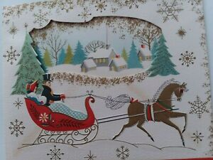 UNUSED-1950s-Vtg-Gold-HORSE-Sleigh-Peek-Window-House-CHRISTMAS-Greeting-CARD-NOS