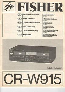 Tv, Video & Audio ZuverläSsig Fisher Service Manual Anleitung Cr-w915 B1493 Feine Verarbeitung