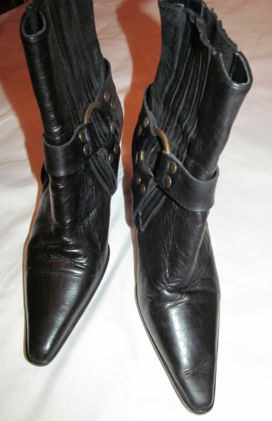BARNEYS sexy NEW YORK COOP ankle pointy toe Western biker sexy BARNEYS harness Stiefel 38 7.5 7a8899